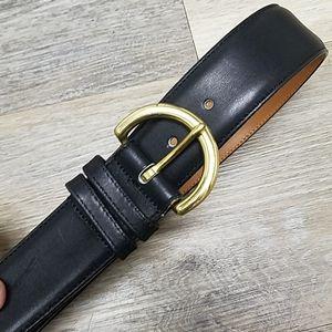 Black leather COACH belt